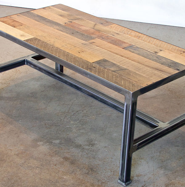Pallet Coffee Table (staggered) (iron Base)